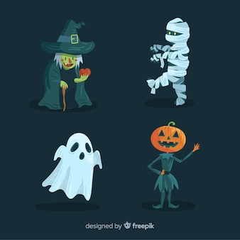 Collection of halloween characters