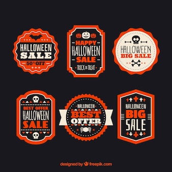 Collection of halloween discount sticker Free Vector