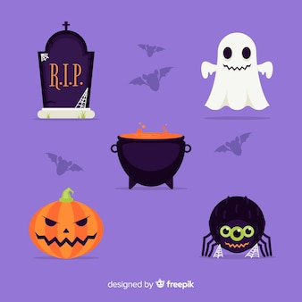 Collection of halloween element flat design