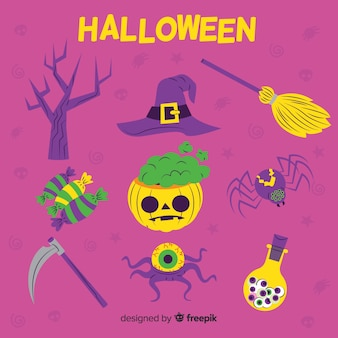 Collection of halloween element on flat design