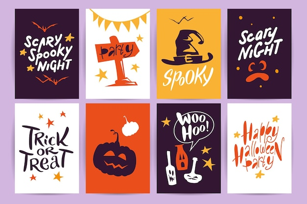 Collection of halloween flat celebration cards