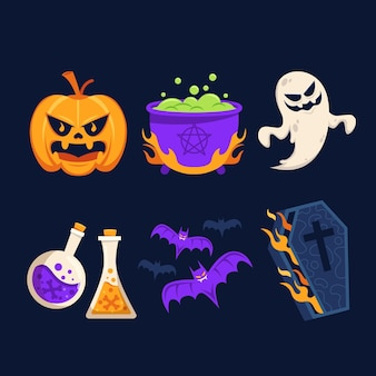 Collection of halloween flat design elements