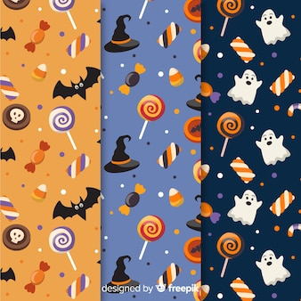 Collection of halloween flat design pattern