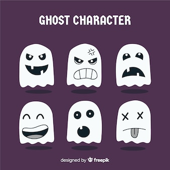 Collection of halloween ghost characters