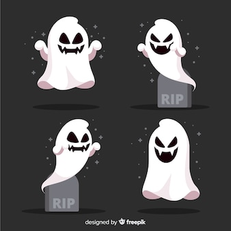Collection of halloween ghost in flat design