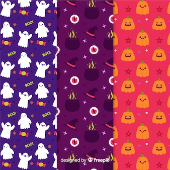 Collection of halloween hand drawn pattern