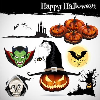 Collection of halloween icon set
