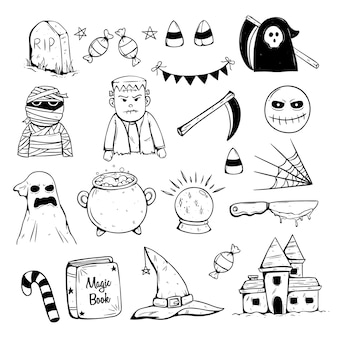 Collection of halloween icons with doodle or sketch style