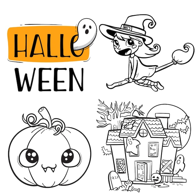 Collection of halloween items outline coloring pages for children