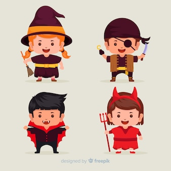 Collection of halloween kid costumes on flat design