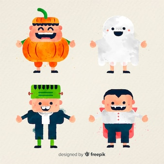 Collection of halloween kid in watercolor style