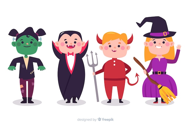 Collection of halloween kids in costumes