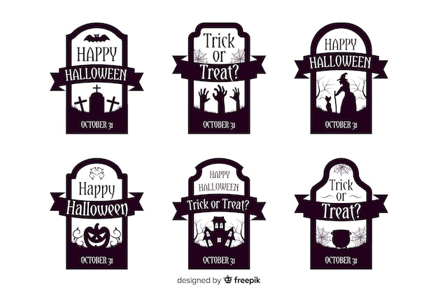 Collection of halloween label in flat design