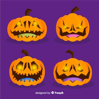 Collection of halloween orange pumpkins