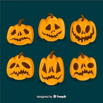 Collection of halloween orange pumpkins