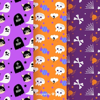 Collection of halloween pattern in flat design