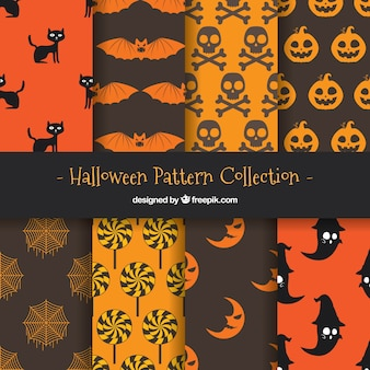 Collection of halloween pattern with elements