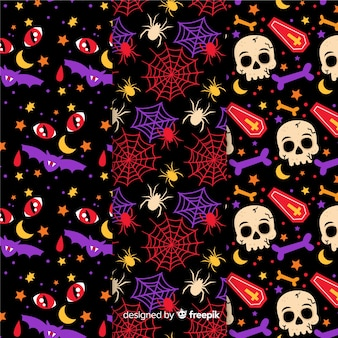 Collection of halloween pattern with flat design