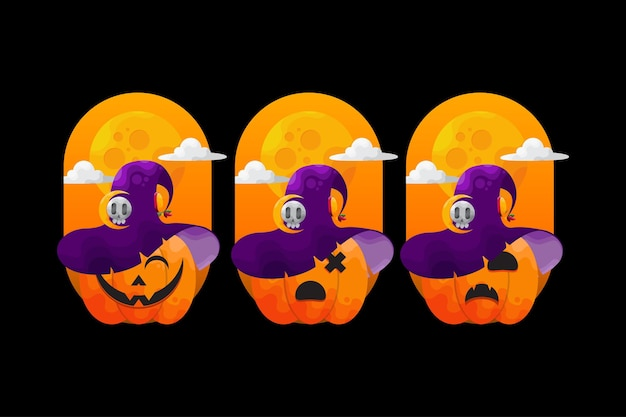 Collection of halloween pumkin with various expressions
