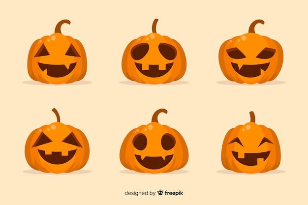 Collection of halloween pumpkin in flat design
