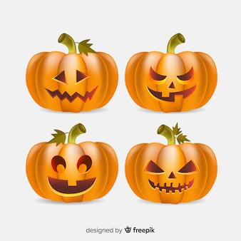 Collection of halloween pumpkin realistic style