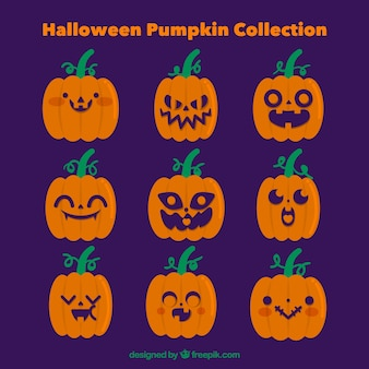Collection of halloween pumpkin with faces