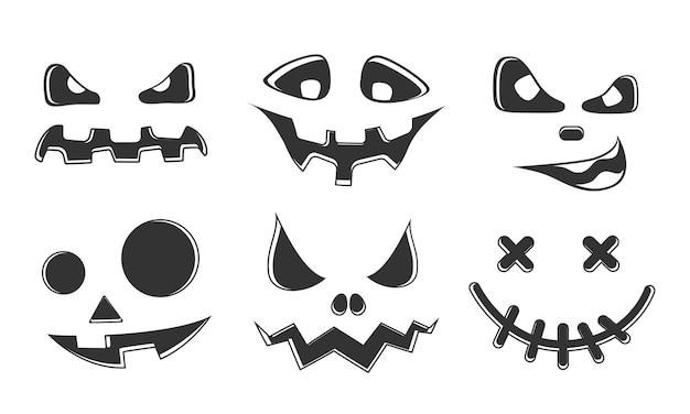 Collection of halloween pumpkins carved faces silhouettes