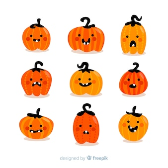Collection of halloween pumpkins with flat design