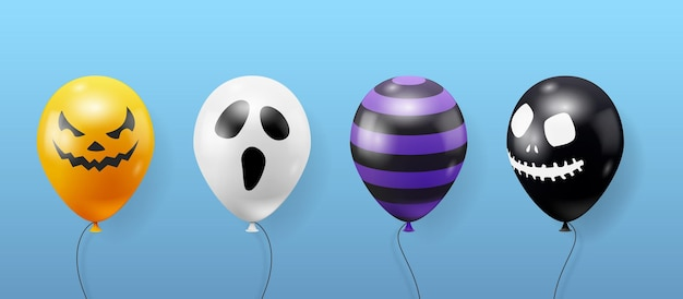 Collection of halloween realistic balloons. creepy scary faces on balloons. decoration element for halloween celebration