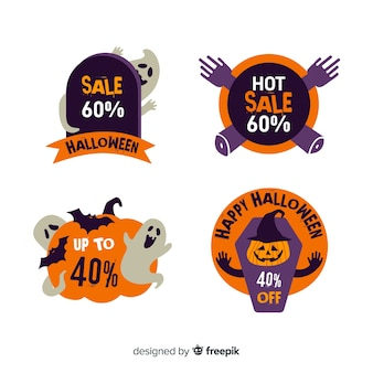 Collection of halloween sale badge