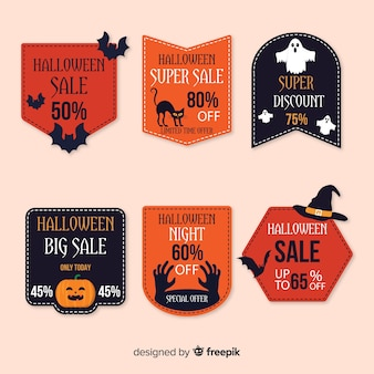 Collection of halloween sale bagde on flat design