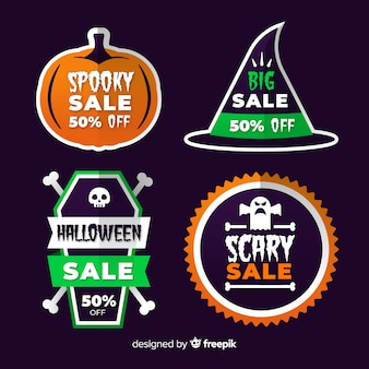 Collection of halloween sale label