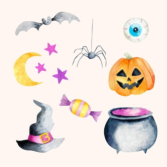 Collection of halloween watercolor elements