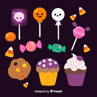 Collection of hallween candies on flat design