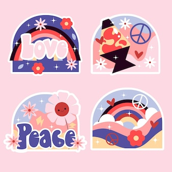 Collection of hand drawn 80s stickers