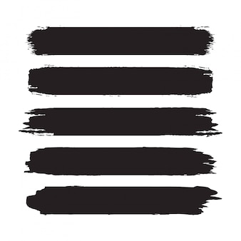 Collection of hand drawn abstract black paint brush strokes.  set of shapes, frames isolated on white