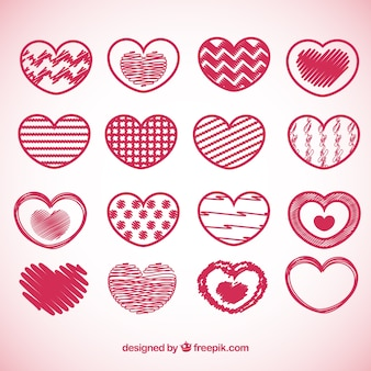 Collection of hand drawn abstract hearts