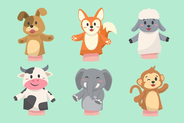 Collection of hand drawn adorable hand puppets