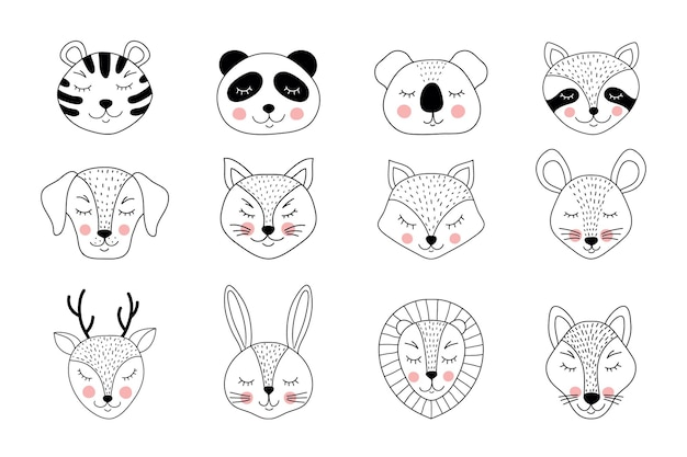 Collection of hand drawn animals on white background.