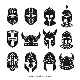 Collection of hand drawn armor helmet