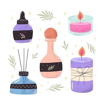 Raccolta di elementi di aromaterapia disegnati a mano