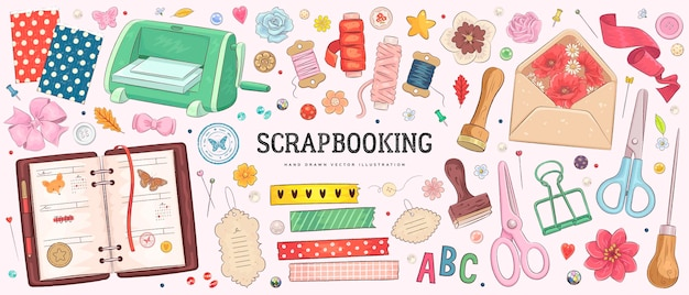 Collection of hand drawn art supplies for scrapbooking