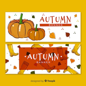Collection of hand drawn autumn banners