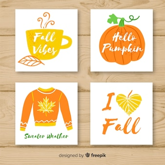 Collection of hand drawn autumn cards