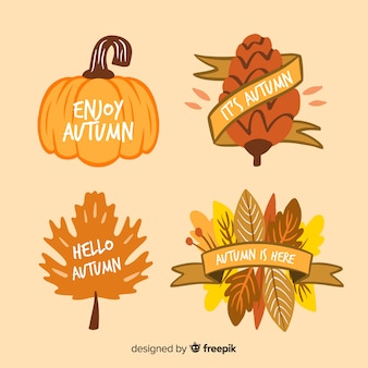 Collection of hand drawn autumn labels