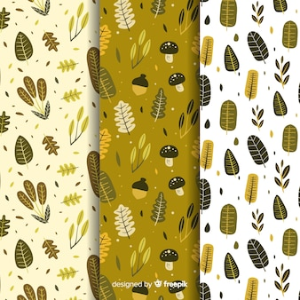 Collection of hand drawn autumn pattern