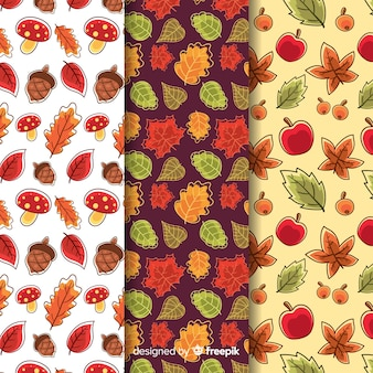 Collection of hand drawn autumn patterns