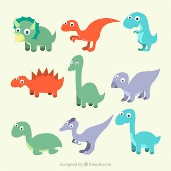 Insieme di mano disegnato cucciolo di dinosauro