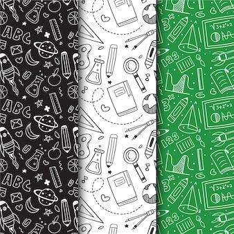 Collection of hand drawn back to school pattern