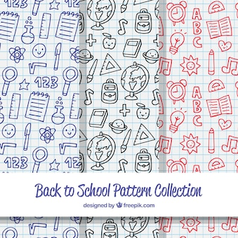 Collection of hand drawn back to school patterns
